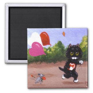 Valentin mus Creationarts för katt för dagsvart Magnet