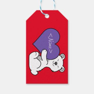 Valentin polar björn för dag med purpurfärgad presentetikett
