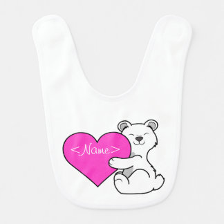Valentin polar björn för dag med rosa hjärta hakklapp