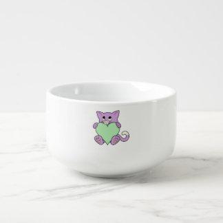 Valentin purpurfärgad katt för dag med ljust - kopp för soppa