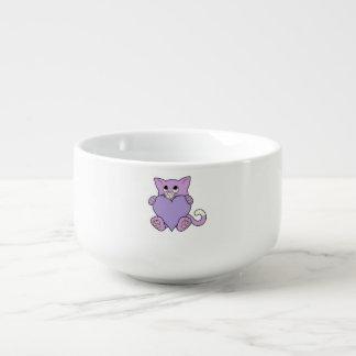Valentin purpurfärgad katt för dag med ljust - mugg för soppa