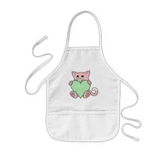 Valentin rosa katt för dag med ljust - grön hjärta barnförkläde