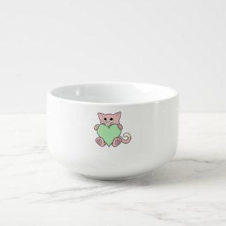 Valentin rosa katt för dag med ljust - grön hjärta stor kopp för soppa