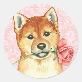 Valentin rosa Shiba Inu Runt Klistermärke
