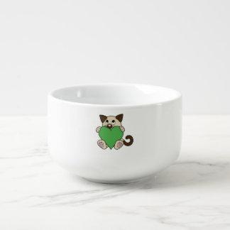 Valentin Siamese katt för dag med grön hjärta Mugg För Soppa