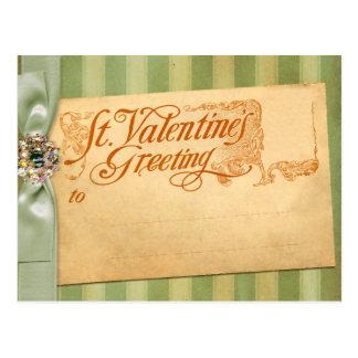 Valentin vintage för antikvitet för daghälsning vykort