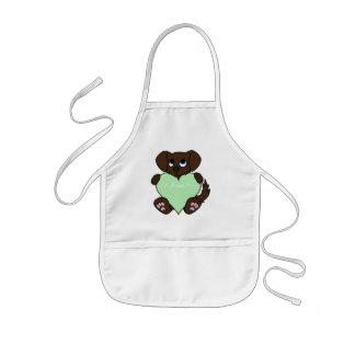 Valentinchokladhund med ljust - grön hjärta barnförkläde