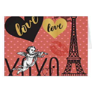 ValentinCupids, hjärtor och det Eiffel torn Hälsningskort
