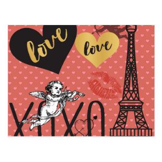 ValentinCupids, hjärtor och det Eiffel torn Vykort