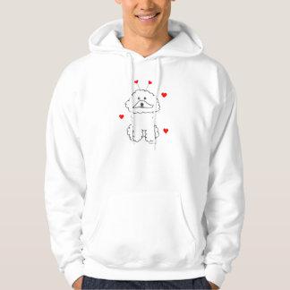 Valentinen gå i ax Bichon Frise den Hooded Sweatshirt Med Luva