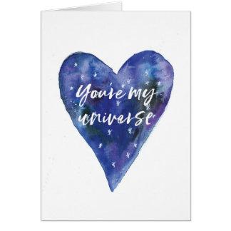 Valentines daykortet, är du mitt universum hälsningskort