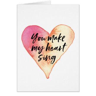 Valentines daykortet, gör du min hjärta att sjunga hälsningskort