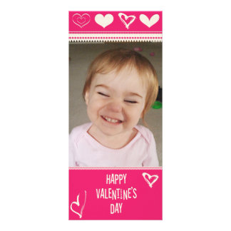 Valentines dragen hjärtafoto/text reklamkort