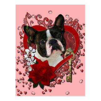 Valentines - nyckel till min hjärta - Boston Vykort