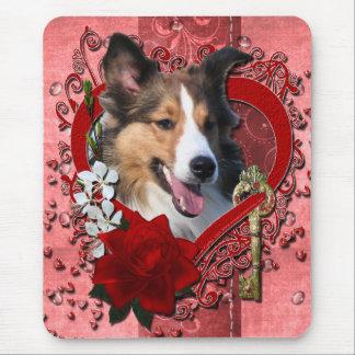 Valentines - nyckel till min hjärta - Sheltie Musmatta