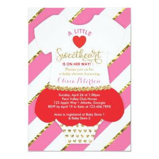 Valentinesbaby showerinbjudan, Fauxglitter 12,7 X 17,8 Cm Inbjudningskort