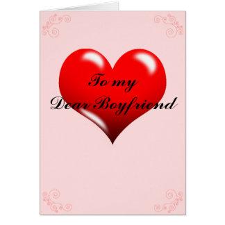 """Valentineskort """"till för min kära pojkvän"""" hälsningskort"""