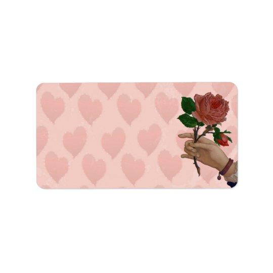 Valentinesröd ros räcker av vänskap adressetikett