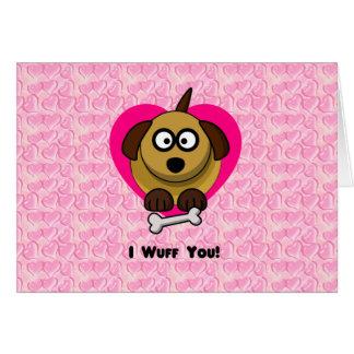 Valentinesvalpkärlek - I Wuff dig Hälsningskort