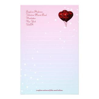 Valentinhjärta sväller handstilpapper brevpapper