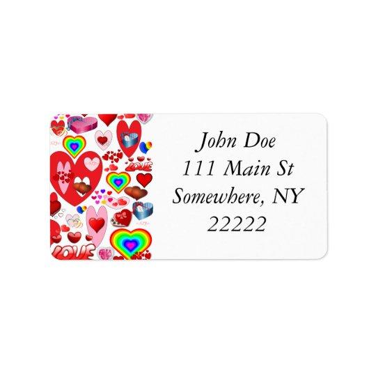 ValentinhjärtaCollage Adressetikett