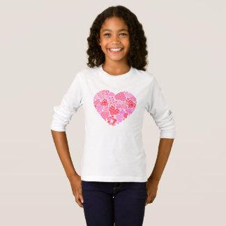 Valentinhjärtaflicka T-tröja T-shirt