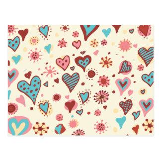 Valentinklotter i ljust - rosor vykort