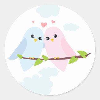 Valentinlove birds runt klistermärke