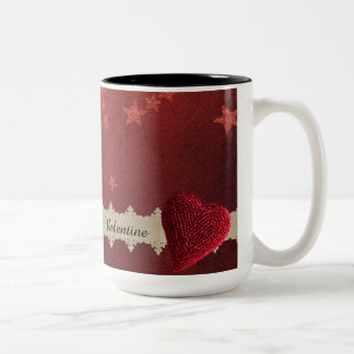 Valentinstjärnor och ro Två-Tonad mugg