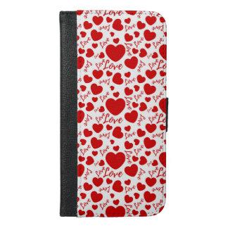valenttineshjärtor med kärlektext iPhone 6/6s plus plånboksfodral