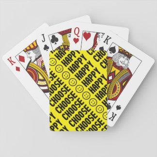 Välj lycklig som leker kort spel kort