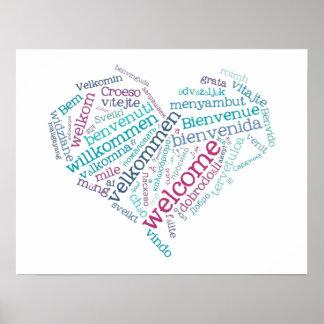 Välkommen affisch för hjärta många språk