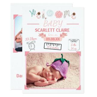 Välkommen baby med teckningar - födelsemeddelande 12,7 x 17,8 cm inbjudningskort