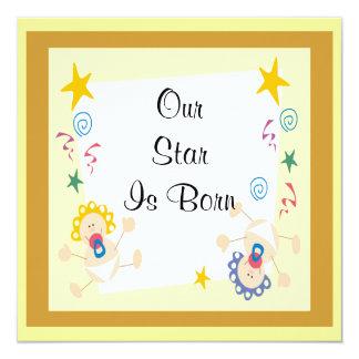 Välkommen nyfödd bebispojke eller flicka fyrkantigt 13,3 cm inbjudningskort