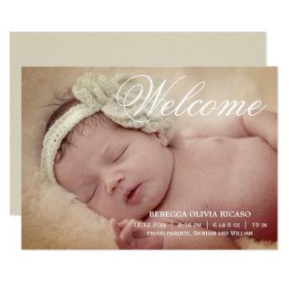 Välkommen personlig för typografirullanyfödd bebis 12,7 x 17,8 cm inbjudningskort