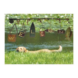 Välkommen simning för Labrador Retriever Canvastryck