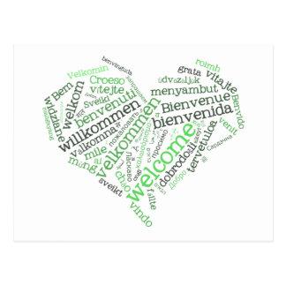 Välkommen vykort för hjärta många språk