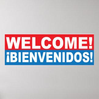 Välkommet Bienvenidos engelskt spanskt baner Poster