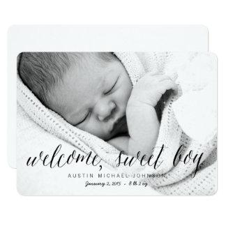 Välkommet sött för fotofödelse för pojke   12,7 x 17,8 cm inbjudningskort