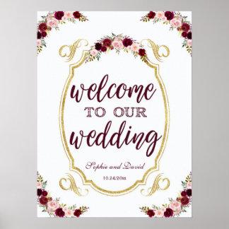 Välkomnande för vintageMarsala blommigt till vårt Poster