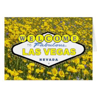 Välkomnande till det sagolika Las Vegas gula blomm Hälsnings Kort