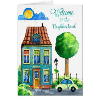 Välkomnande till grannskapen hälsningskort