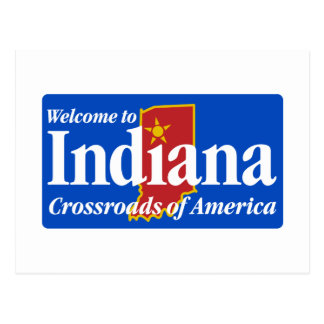 Välkomnande till Indiana - USA vägmärket Vykort