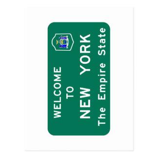 Välkomnande till New York - USA vägmärket Vykort