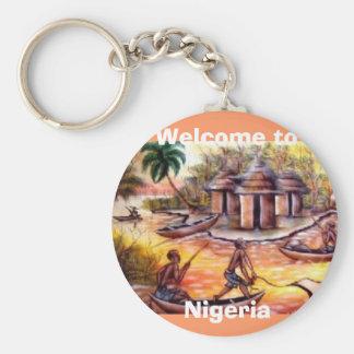 välkomnande till Nigeria Rund Nyckelring