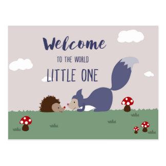 Välkomnande till världen vykort