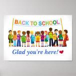 Välkomnandebaksida som är glad är du, här (skola poster