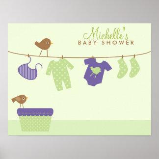 Välkomnandet för babytvättbaby shower undertecknar poster