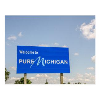 Välkomnandet till rena Michigan blått undertecknar Vykort
