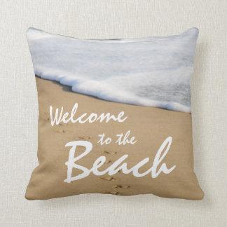 Välkomnandet till stranden och hav kudder kudde